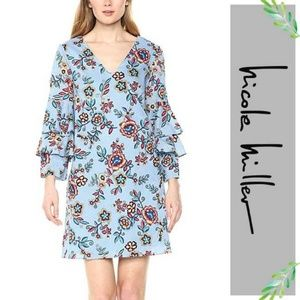 Nicole Miller Tiered Floral Bell Sleeve Dress 8